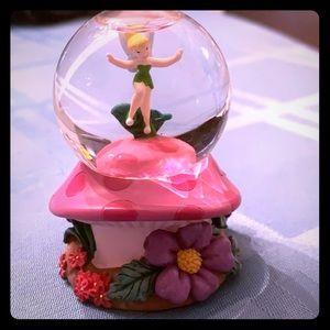 Tinker Bell on a mushroom mini snow globe